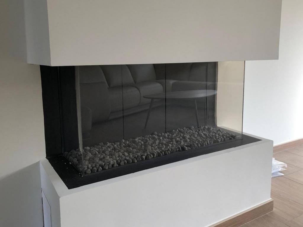 - Finishing the fireplace in Gyproc